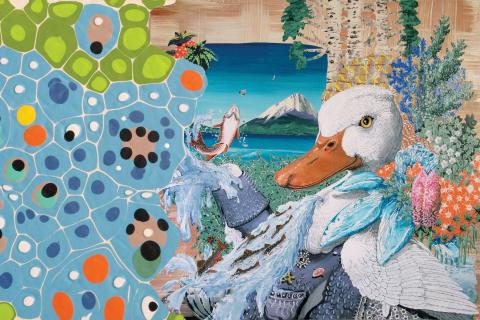 """montage of """"The Duck Takes Charge!"""" and """"Untitled Abstraction 14-120"""" by Herman James"""