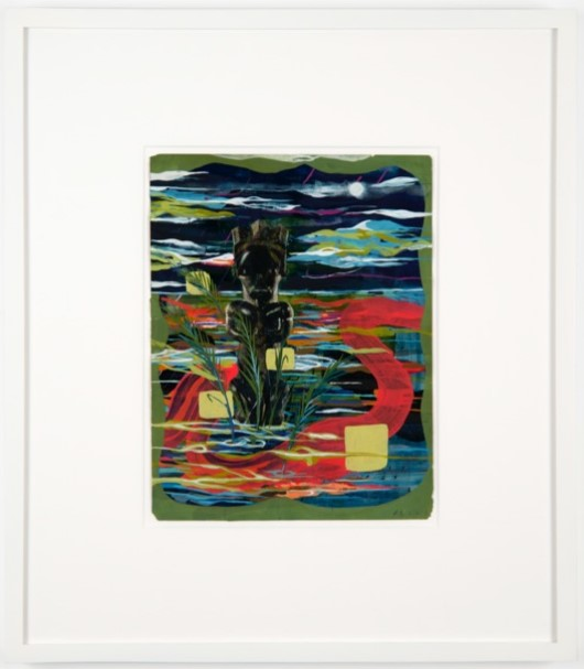 abstract painting with a statue and natural elements